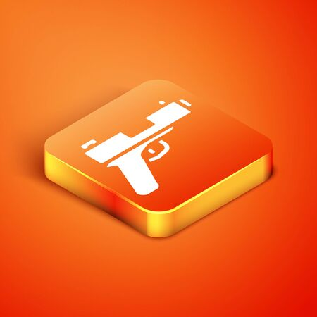 Isometric Pistol or gun icon isolated on orange background. Police or military handgun. Small firearm.  Vector.
