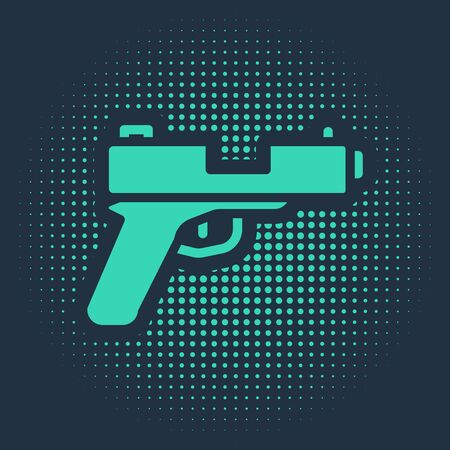 Green Pistol or gun icon isolated on blue background. Police or military handgun. Small firearm. Abstract circle random dots. Vector. Vettoriali