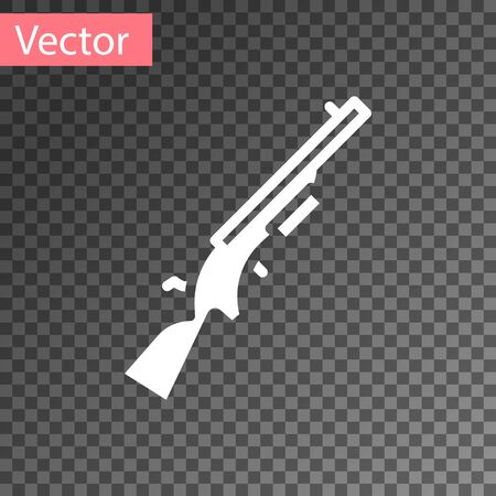 White Shotgun icon isolated on transparent background. Hunting gun.  Vector.