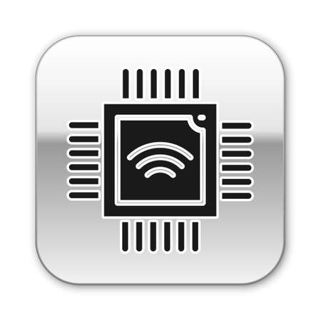 Black Computer processor with microcircuits CPU icon isolated on white background. Chip or cpu with circuit board. Micro processor. Silver square button. Vector.