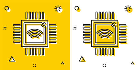 Black Computer processor with microcircuits CPU icon isolated on yellow and white background. Chip or cpu with circuit board. Micro processor. Random dynamic shapes. Vector. Stock Illustratie