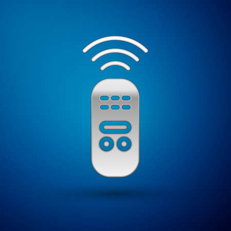 Silver Smart remote control system icon isolated on blue background. Internet of things concept with wireless connection.  Vector.