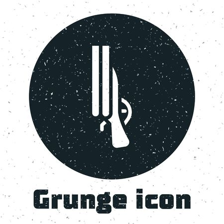 Grunge Shotgun icon isolated on white background. Hunting gun. Monochrome vintage drawing. Vector.