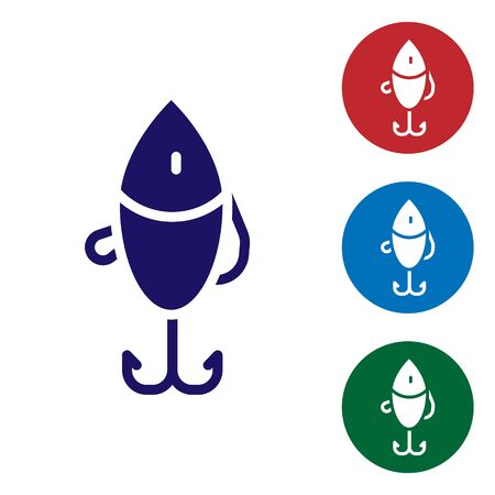 Blue Fishing lure icon isolated on white background. Fishing tackle. Set icons in color square buttons. Vector. Stock fotó - 150561251