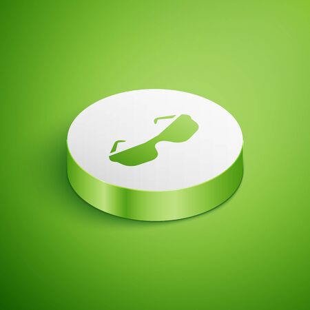 Isometric Glasses icon isolated on green background. Eyeglass frame symbol. White circle button. Vector.