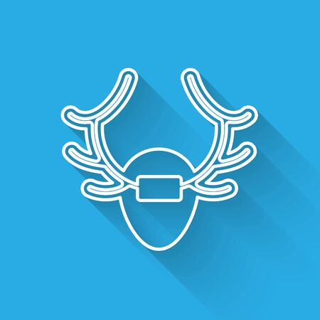 White line Deer antlers on shield icon isolated with long shadow. Hunting trophy on wall. Vector.