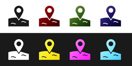 Set Location fishing icon isolated on black and white background. Fishing place. Vector.