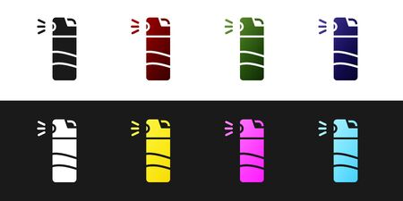 Set Pepper spray icon isolated on black and white background. OC gas. Capsicum self defense aerosol. Vector. Illustration