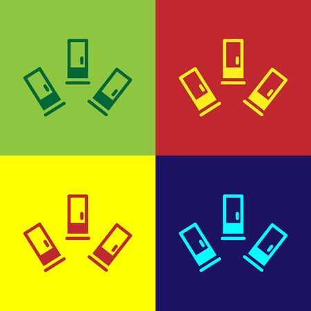 Pop art Cartridges icon isolated on color background. Shotgun hunting firearms cartridge. Hunt rifle bullet icon. Vector.