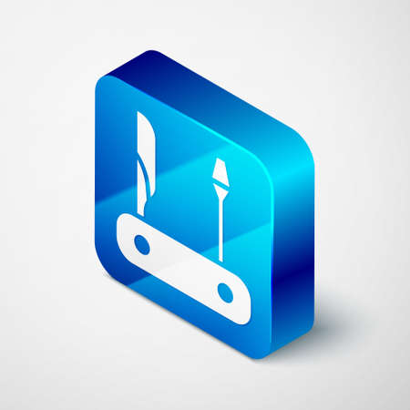 Isometric Swiss army knife icon isolated on grey background. Multi-tool, multipurpose penknife. Multifunctional tool. Blue square button. Vector. Stock fotó - 150578633