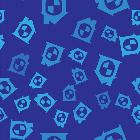 Blue House under protection icon isolated seamless pattern on blue background. Home and shield. Protection, safety, security, protect, defense concept. Vector.