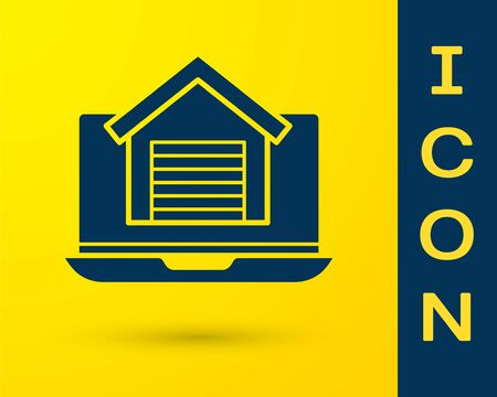 Blue Online real estate house on laptop icon isolated on yellow background. Home loan concept, rent, buy, buying a property. Vector. Vectores