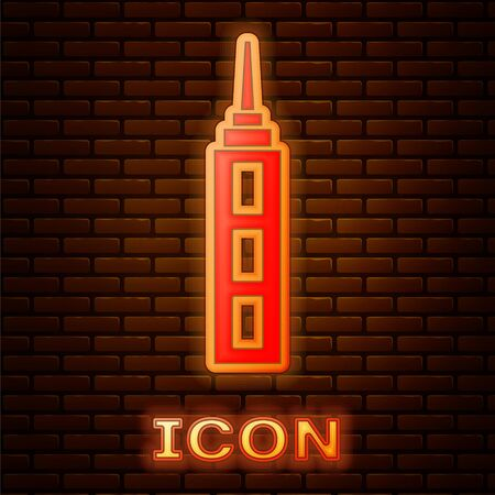 Glowing neon Skyscraper icon isolated on brick wall background. Metropolis architecture panoramic landscape. Vector.