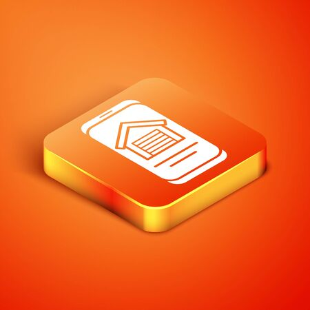 Isometric Online real estate house on smartphone icon isolated on orange background. Home loan concept, rent, buy, buying a property. Vector.