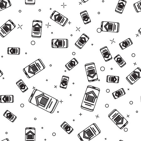 Black line Online real estate house on smartphone icon isolated seamless pattern on white background. Home loan concept, rent, buy, buying a property. Vector. Ilustracja