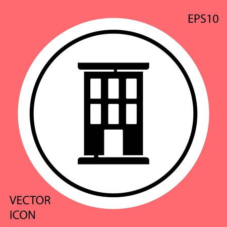 Black House icon isolated on red background. Home symbol. White circle button. Vector.