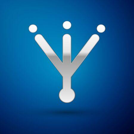 Silver Bird footprint icon isolated on blue background. Animal foot. Vector. Stock Illustratie