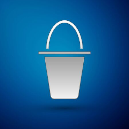 Silver Fishing bucket icon isolated on blue background. Fish in a bucket. Vector. Illusztráció