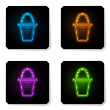 Glowing neon Fishing bucket icon isolated on white background. Fish in a bucket. Black square button. Vector.