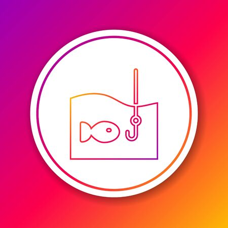 Color line Fishing hook under water with fish icon isolated on color background. Fishing tackle. Circle white button. Vector.
