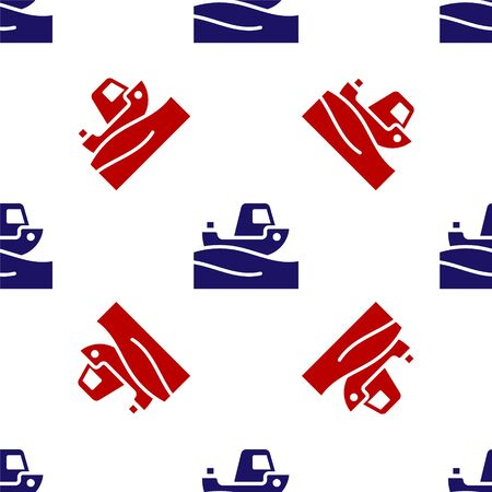 Blue and red Fishing boat on water icon isolated seamless pattern on white background. Vector.