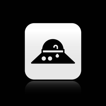 Black Fisherman hat icon isolated on black background. Silver square button. Vector. Stock fotó - 150561296