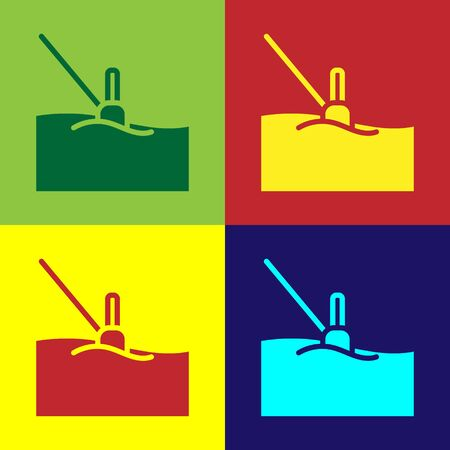 Pop art Fishing float in water icon isolated on color background. Fishing tackle. Vector. Stock fotó - 150560096