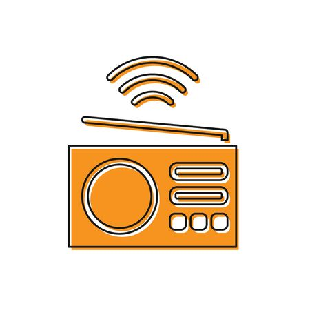Orange Smart radio system icon isolated on white background. Internet of things concept with wireless connection.  Vector. Иллюстрация