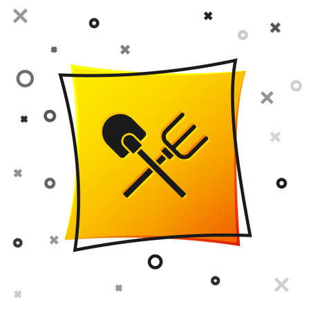 Black Shovel and rake icon isolated on white background. Tool for horticulture, agriculture, gardening, farming. Ground cultivator. Yellow square button. Vector.