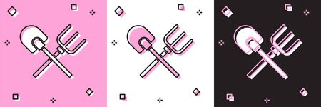 Set Shovel and rake icon isolated on pink and white, black background. Tool for horticulture, agriculture, gardening, farming. Ground cultivator.  Vector.  イラスト・ベクター素材