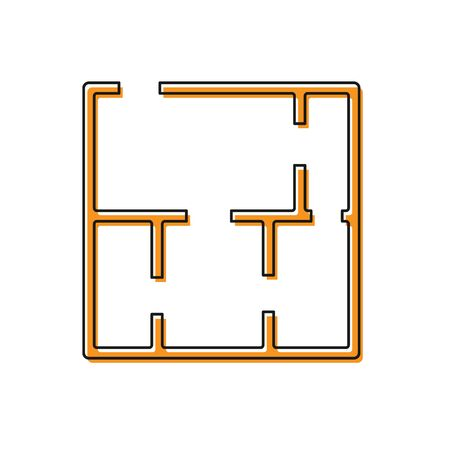Orange House plan icon isolated on white background.  Vector. Vectores