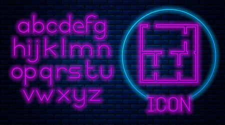 Glowing neon House plan icon isolated on brick wall background. Neon light alphabet. Vector.
