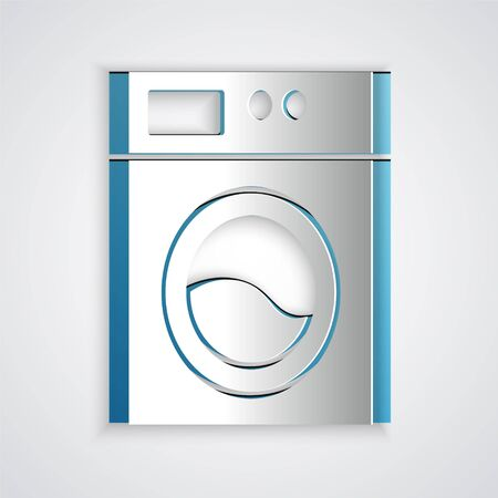 Paper cut Washer icon isolated on grey background. Washing machine icon. Clothes washer - laundry machine. Home appliance symbol. Paper art style. Vector. Vectores