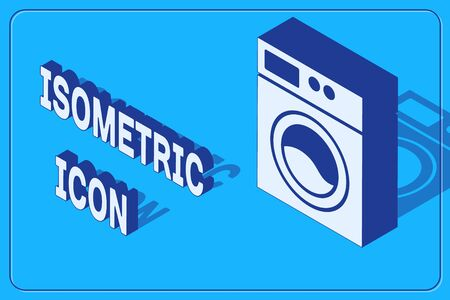 Isometric Washer icon isolated on blue background. Washing machine icon. Clothes washer - laundry machine. Home appliance symbol.  Vector. 矢量图像