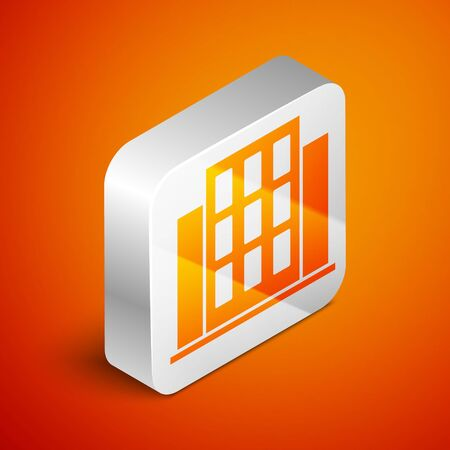 Isometric House icon isolated on orange background. Home symbol. Silver square button. Vector. Stock Illustratie