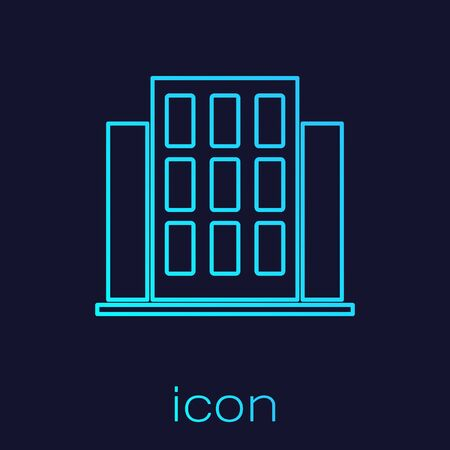 Turquoise line House icon isolated on blue background. Home symbol.  Vector.