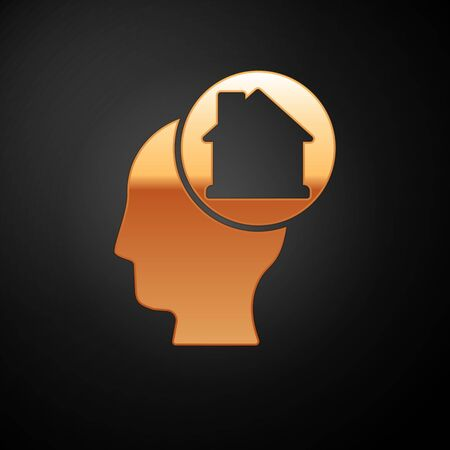 Gold Man dreaming about buying a new house icon isolated on black background.  Vector. Foto de archivo - 150561341
