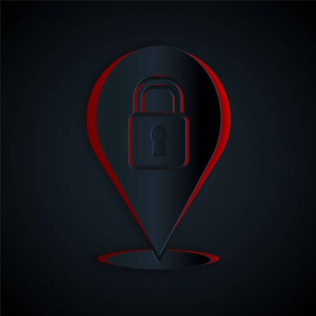 Paper cut Location lock icon isolated on black background. The concept of the house turnkey. Paper art style. Vector.