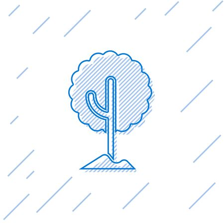 Blue line Tree icon isolated on white background. Forest symbol. Vector.