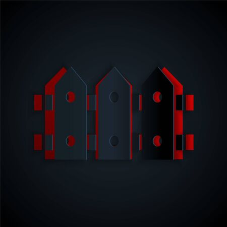 Paper cut Garden fence wooden icon isolated on black background. Paper art style. Vector. Vectores