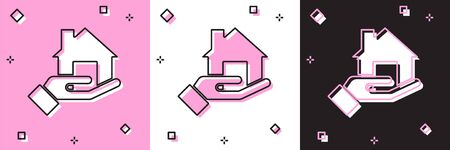 Set Realtor icon isolated on pink and white, black background. Buying house. Vector.