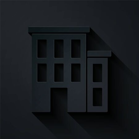 Paper cut House icon isolated on black background. Home symbol. Paper art style. Vector. Vectores
