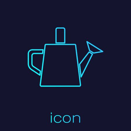 Turquoise line Watering can icon isolated on blue background. Irrigation symbol. Vector.