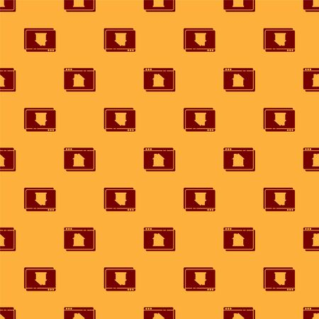 Red Online real estate house in browser icon isolated seamless pattern on brown background. Home loan concept, rent, buy, buying a property. Vector. Stock Illustratie