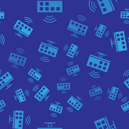 Blue Smart Tv system icon isolated seamless pattern on blue background. Television sign. Internet of things concept with wireless connection.  Vector.