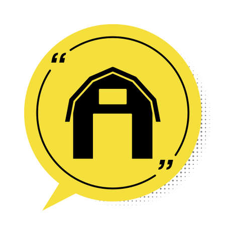 Black Farm house icon isolated on white background. Yellow speech bubble symbol. Vector.