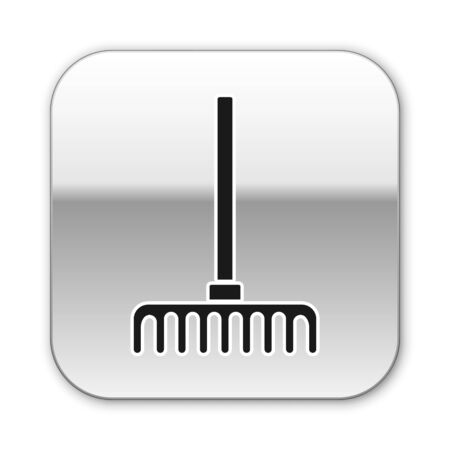 Black Garden rake icon isolated on white background. Tool for horticulture, agriculture, farming. Ground cultivator. Silver square button. Vector. Vectores