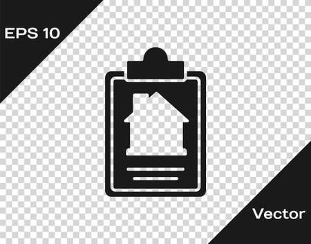 Black House contract icon isolated on transparent background. Contract creation service, document formation, application form composition. Vector.