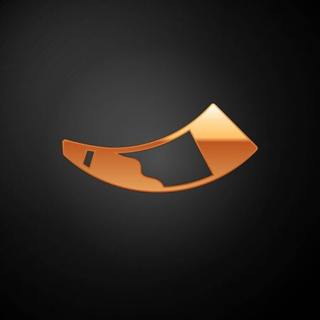 Gold Hunting horn icon isolated on black background.  Vector. Vettoriali