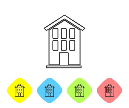 Grey line House icon isolated on white background. Home symbol. Set icons in color rhombus buttons. Vector. Stock Illustratie